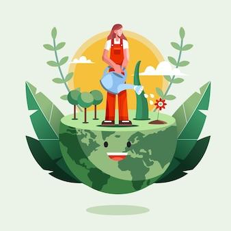 Platte wereld milieu dag illustratie