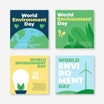 Platte wereld milieu dag instagram posts collectie