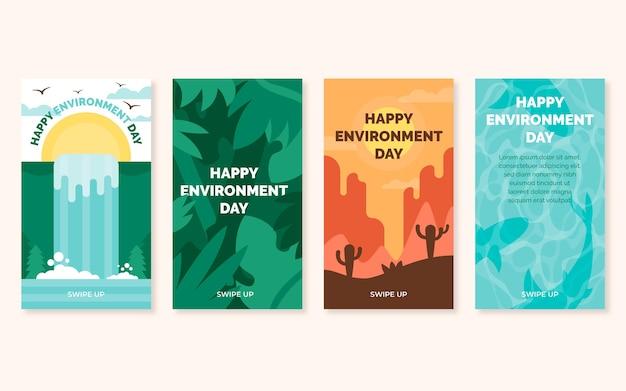 Platte wereld milieu dag instagram verhalencollectie