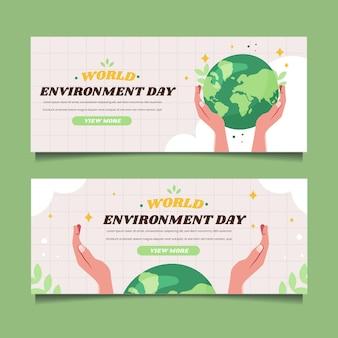 Platte wereld milieu dag sjabloon voor spandoek