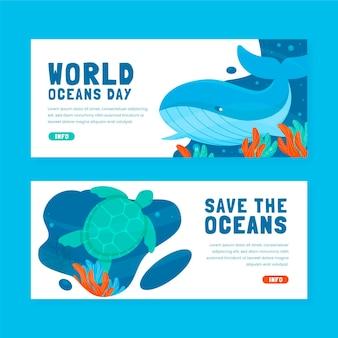 Platte wereld oceanen dag banners instellen