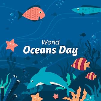Platte wereld oceanen dag illustratie