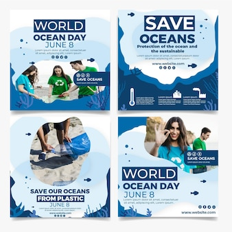 Platte wereld oceanen dag instagram posts-collectie