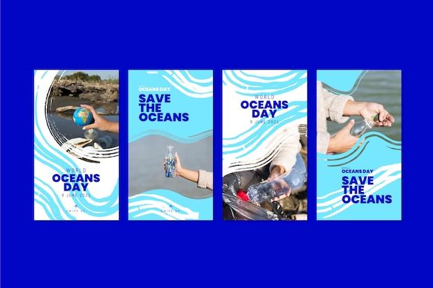 Platte wereld oceanen dag instagram verhalencollectie