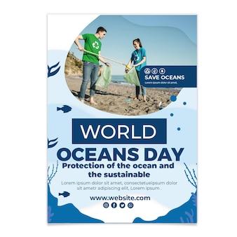 Platte wereld oceanen dag verticale flyer-sjabloon