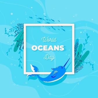 Platte wereld oceanen dag