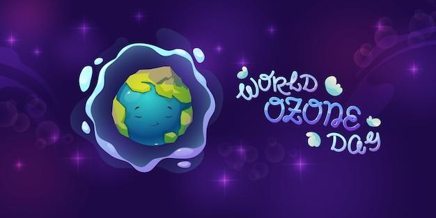 Platte wereld ozon dag achtergrond