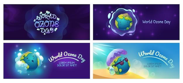 Platte wereld ozon dag banners set