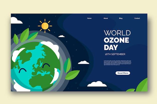 Platte wereld ozon dag bestemmingspagina sjabloon flat