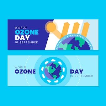 Platte wereld ozon dag horizontale banners set