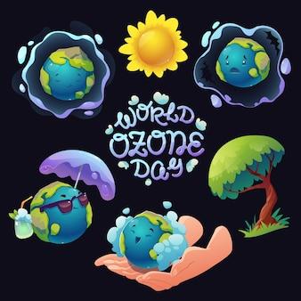 Platte wereld ozon dag illustratie