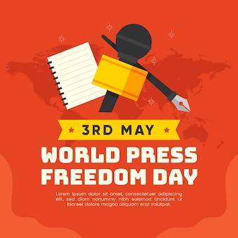 Platte wereld persvrijheid dag illustratie