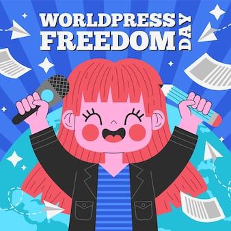 Platte wereld persvrijheid dag illustratie Gratis Vector