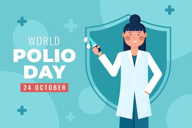 Platte wereld polio dag achtergrond