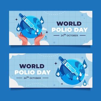 Platte wereld polio dag banners set