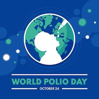 Platte wereld polio dag illustratie
