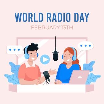 Platte wereld radio dag illustratie
