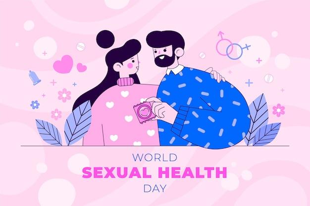 Platte wereld seksuele gezondheid dag achtergrond