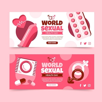 Platte wereld seksuele gezondheid dag banners set