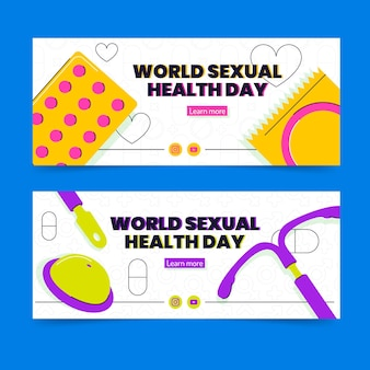 Platte wereld seksuele gezondheid dag horizontale banners set Gratis Vector