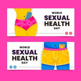 Platte wereld seksuele gezondheid dag horizontale banners set