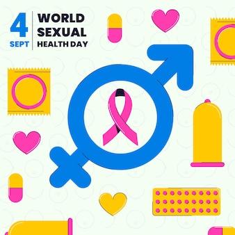 Platte wereld seksuele gezondheid dag illustratie