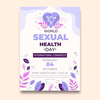 Platte wereld seksuele gezondheid dag verticale flyer-sjabloon day