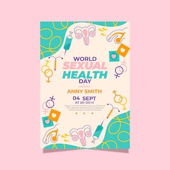 Platte wereld seksuele gezondheid dag verticale flyer-sjabloon