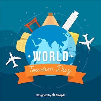 Platte wereld toerisme dag achtergrond met bezienswaardigheden