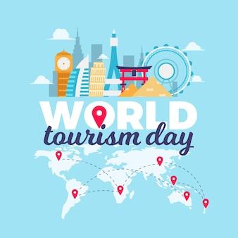 Platte wereld toerisme dag concept