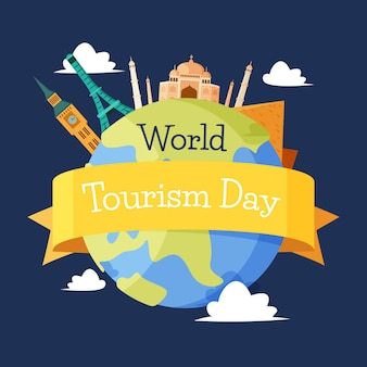 Platte wereld toerisme dag illustratie