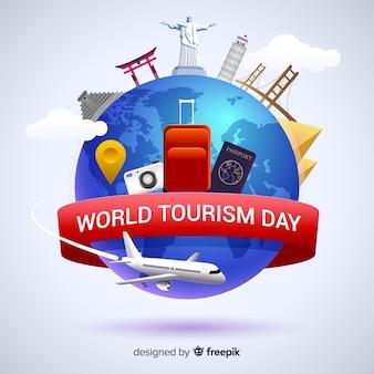 Platte wereld toerisme dag met bezienswaardigheden en transport