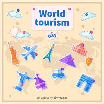 Platte wereld toerisme dag met toeristische attractie