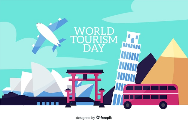 Platte wereld toerisme dag met transport en bezienswaardigheden