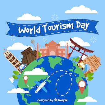 Platte wereld toerisme dag