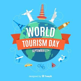 Platte wereld toeristische dag met toeristische attracties