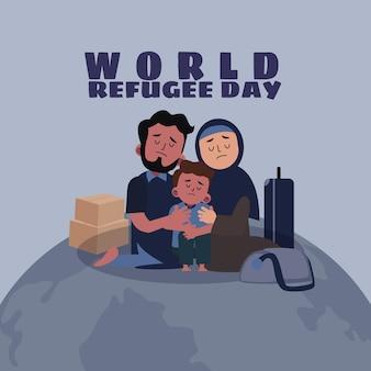 Platte wereld vluchtelingen dag illustratie