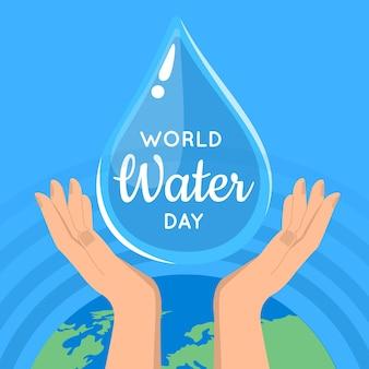 Platte wereld water dag illustratie
