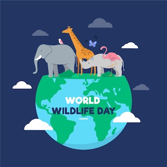 Platte wereld wildlife dag illustratie