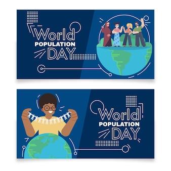 Platte wereldbevolking dag banners instellen