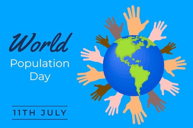 Platte wereldbevolking dag illustratie