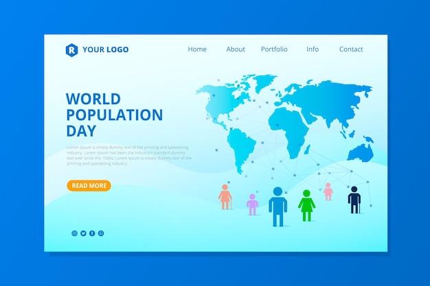 Platte wereldbevolkingsdag bestemmingspagina sjabloon