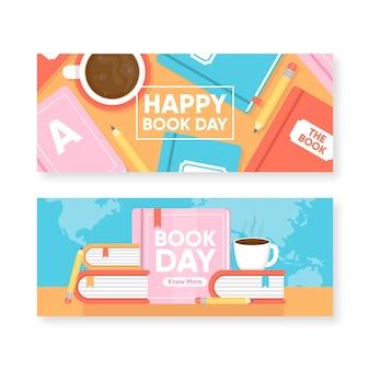 Platte wereldboek dag banners pack