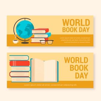 Platte wereldboek dag banners