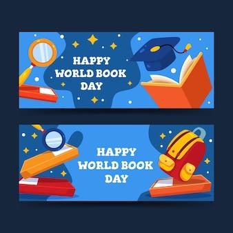 Platte wereldboekdag banners instellen
