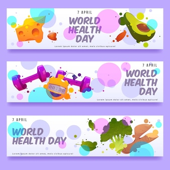Platte wereldgezondheidsdag banner set