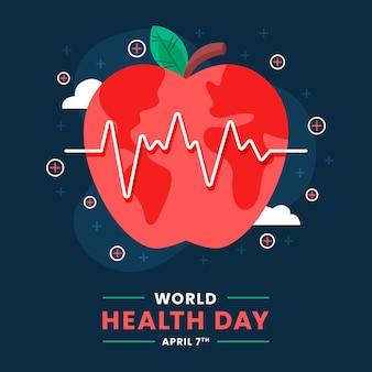 Platte wereldgezondheidsdag illustratie