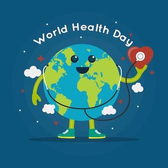 Platte wereldgezondheidsdag met aarde