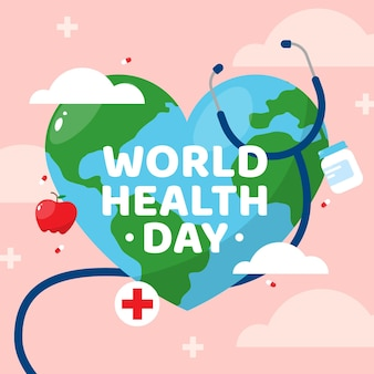 Platte wereldgezondheidsdag viering illustratie