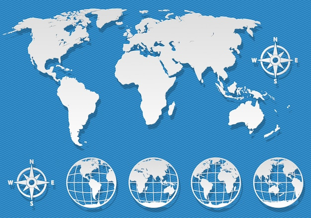Platte wereldkaart en globes elementen op blauwe achtergrond